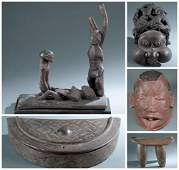 5 African Masks & Utilitarian Objects. 20th c.