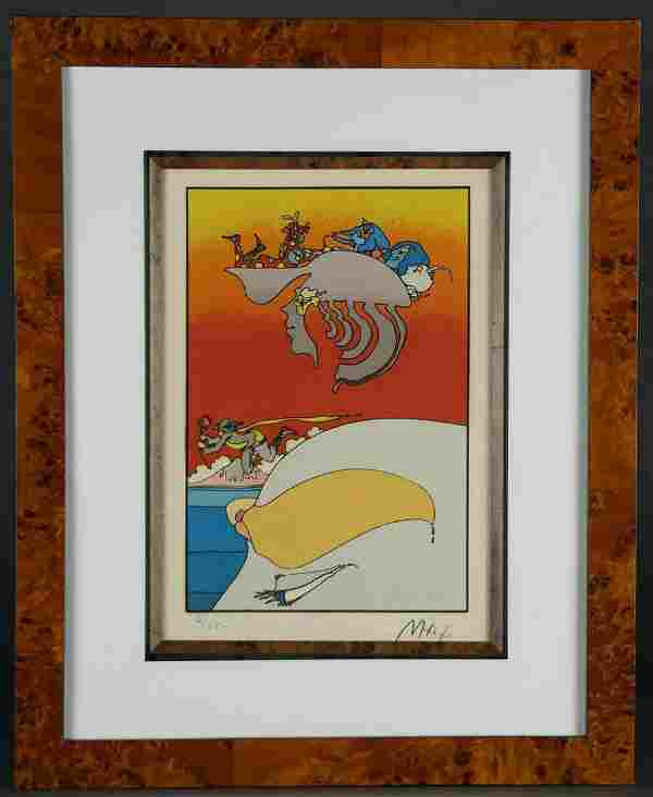 Peter Max. Lithograph. Traveling Along. 1973.