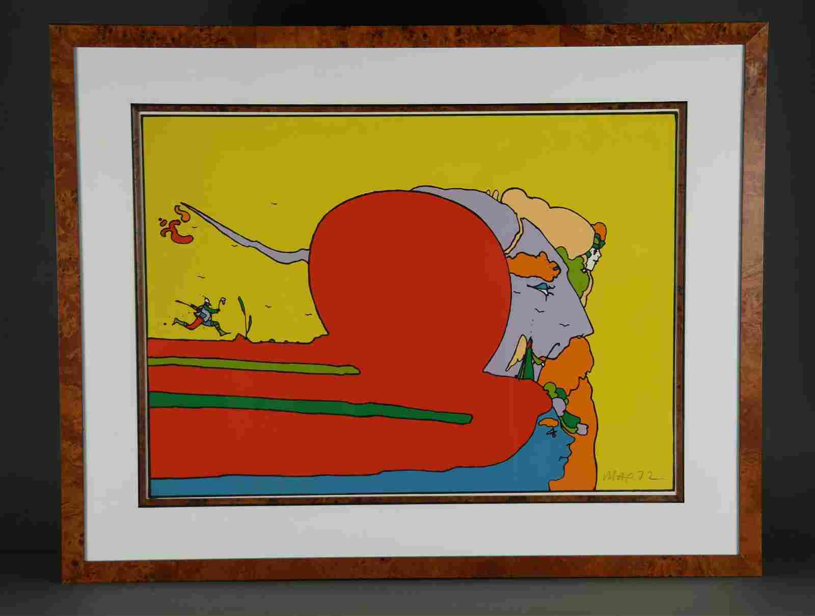 Peter Max. Serigraph. Moving with Father. 1972.