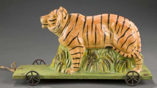 2016: Paper Mache Tiger Pull Toy w/Articulated Head
