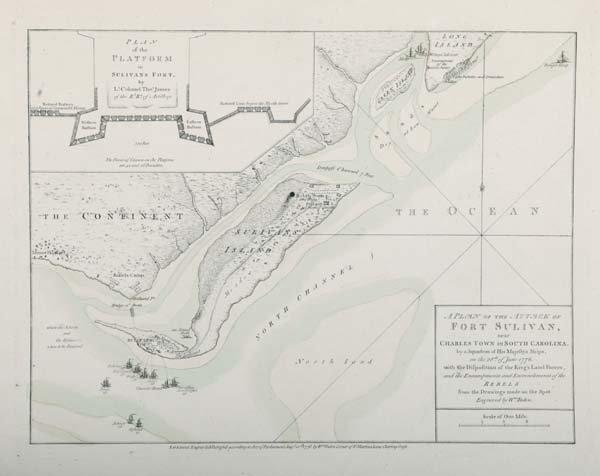 1190: Faden, Fort Sullivan, SC, map, 1776