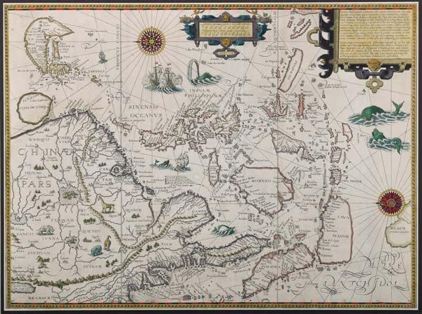 1220: Van Langren/ Van Linschoten: Map of SE Asia
