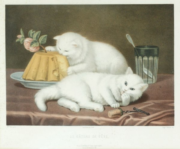 5: after Aita, 3 color lithographs of kittens.