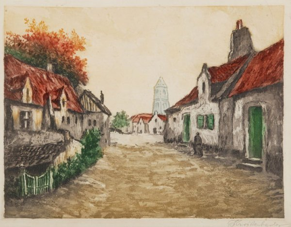 9: 6 color aquatints: City, country, and boats.