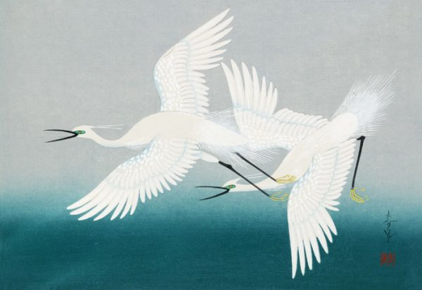 12: Bakuhu Ohno, color woodcut of cranes.