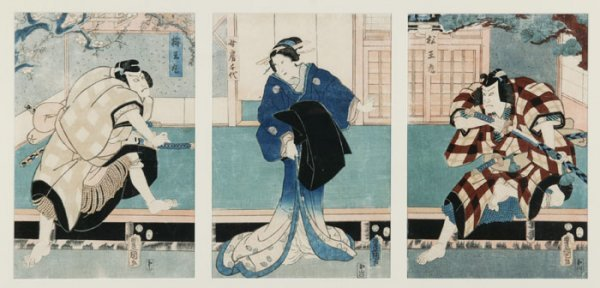 13: Toyokuni III: woodblock triptych, 1857.