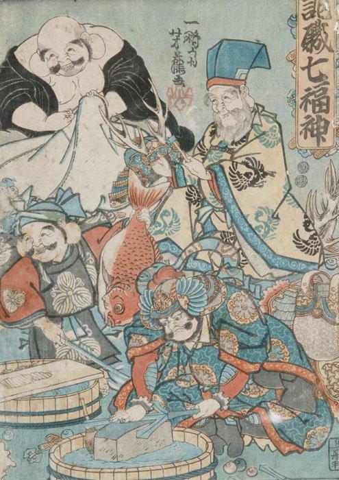14: Yoshifuje Utagawa, 7 Lucky Gods, woodblock