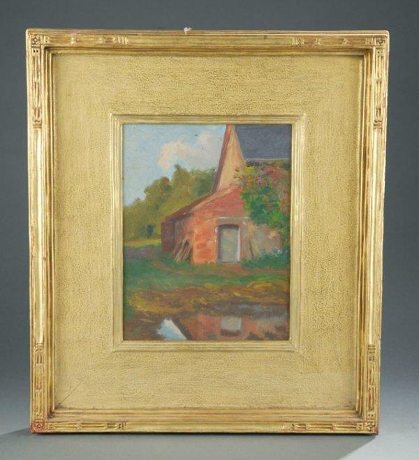 138: Oil painting landscape house Carrig Rohane frame