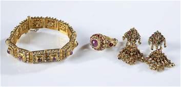 14k Gold earrings bracelet and ring