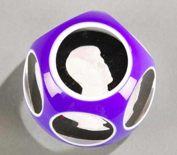 3001: Baccarat heavy crystal JFK paperweight.