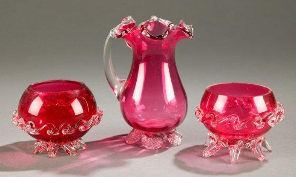 3004: Three pieces of hand blown cranberry art g
