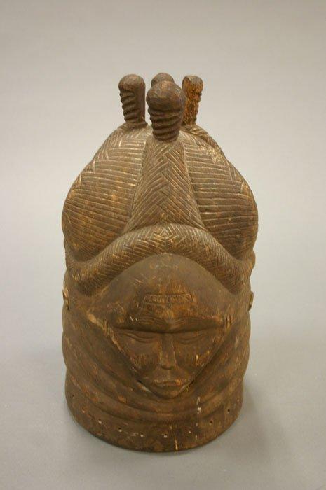 4016: Mende carved wood helmet mask Sierra Leone