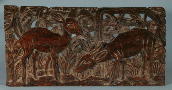 4006: African carved wooden plaque. Late 20th C