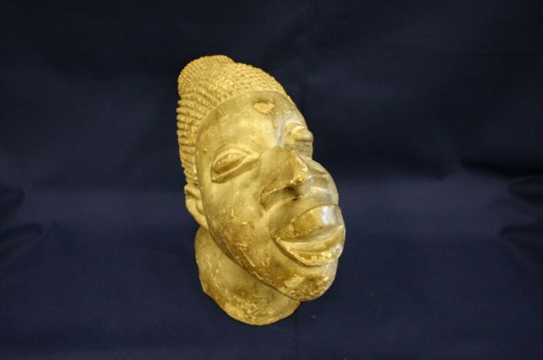 4017: African Carved stone head of woman. 20th