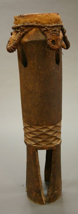 4019: African drum, carved wood with hide top,