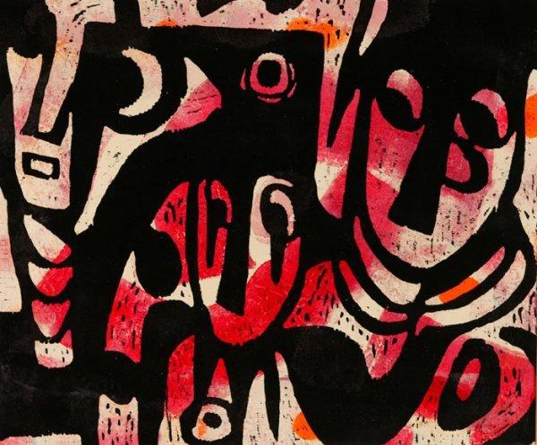 4022: Wood cut print on paper, ''Dance of the F