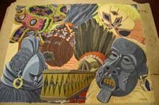4023: Lot of Unframed painting on paper, ''Afri