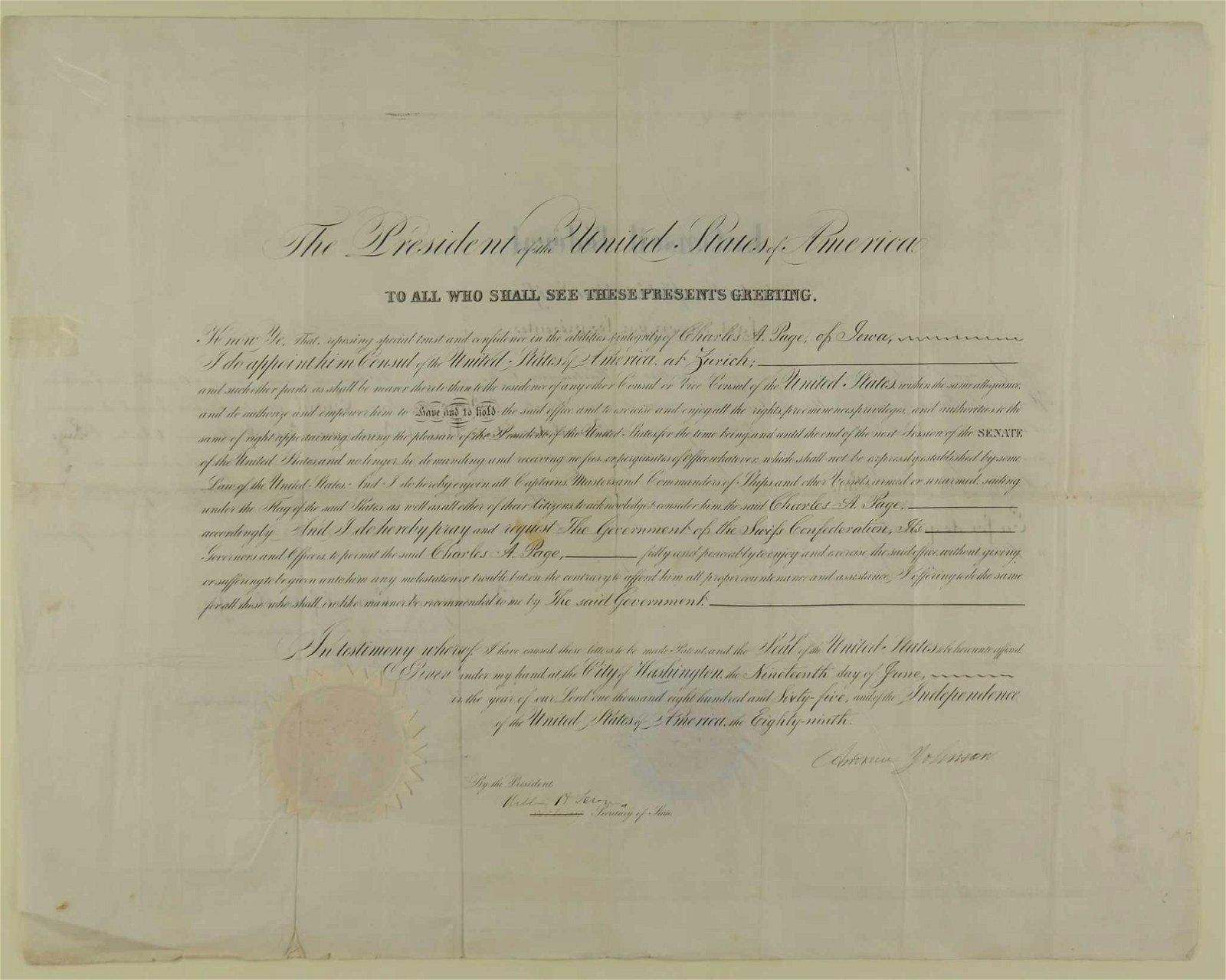 Johnson & Seward signed appointment. June 1865.