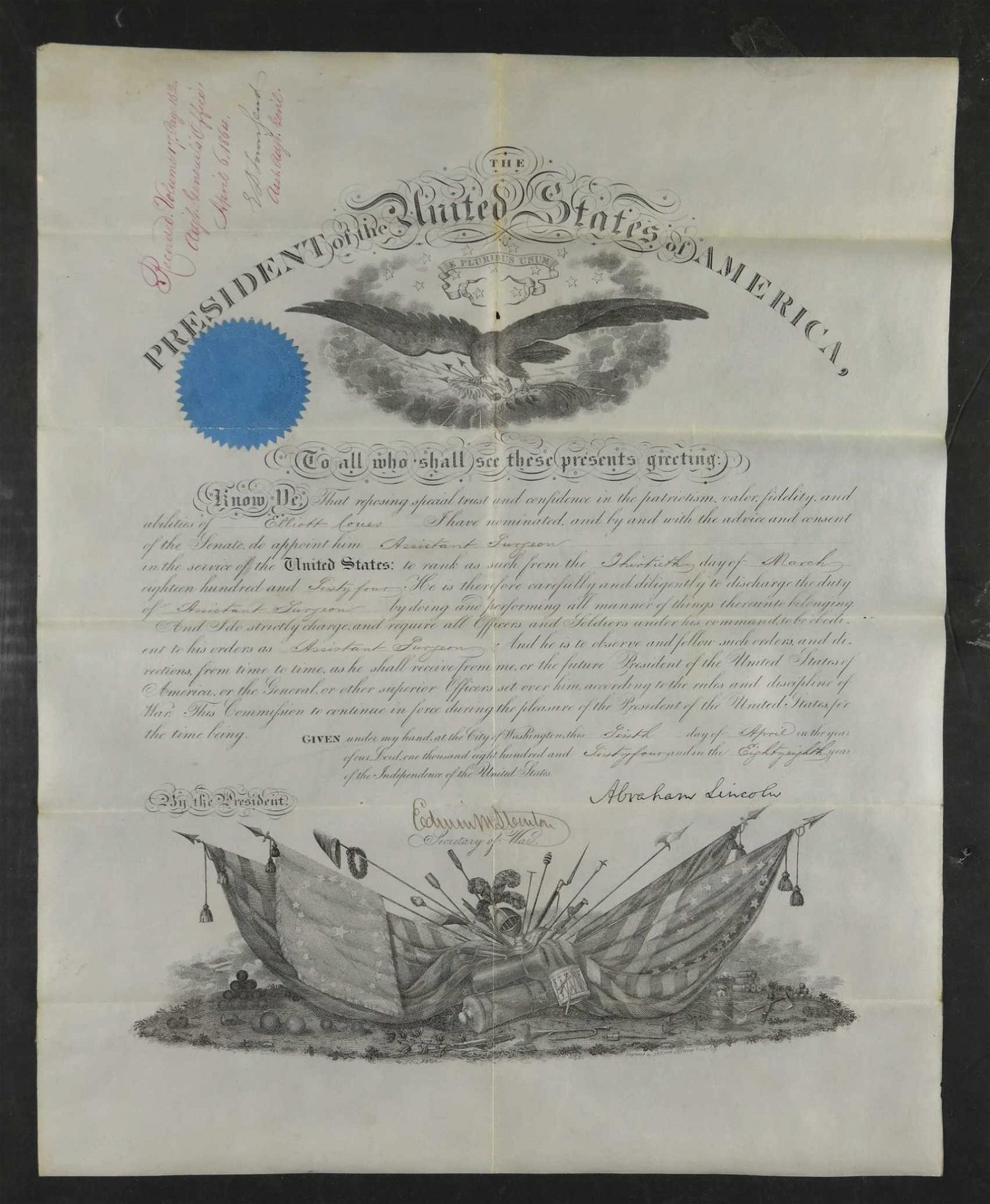 Abraham Lincoln Sgd Military Appointment. 1864.