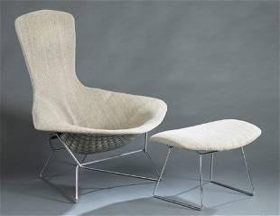 "Harry Bertoia, ""Bird"" chair & ottoman."
