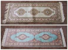 2 Turkish silk runner rugs.