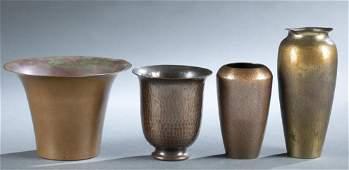 4 Roycroft metal vases, 20th century.
