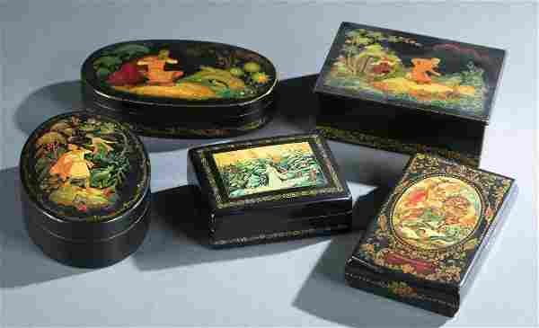 5 Russian lacquer boxes.