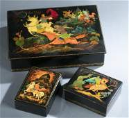 3 Russian lacquer boxes.