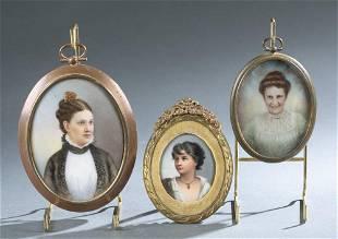 3 Portrait miniatures of women