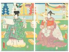 2 Japanese woodblock prints, Utagawa Kunisada.