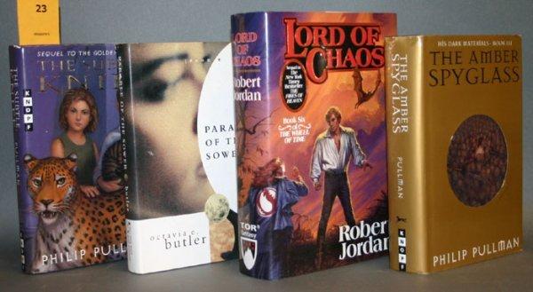 1023: 3 signed sci-fi books: Pullman, Jordan, Butler.