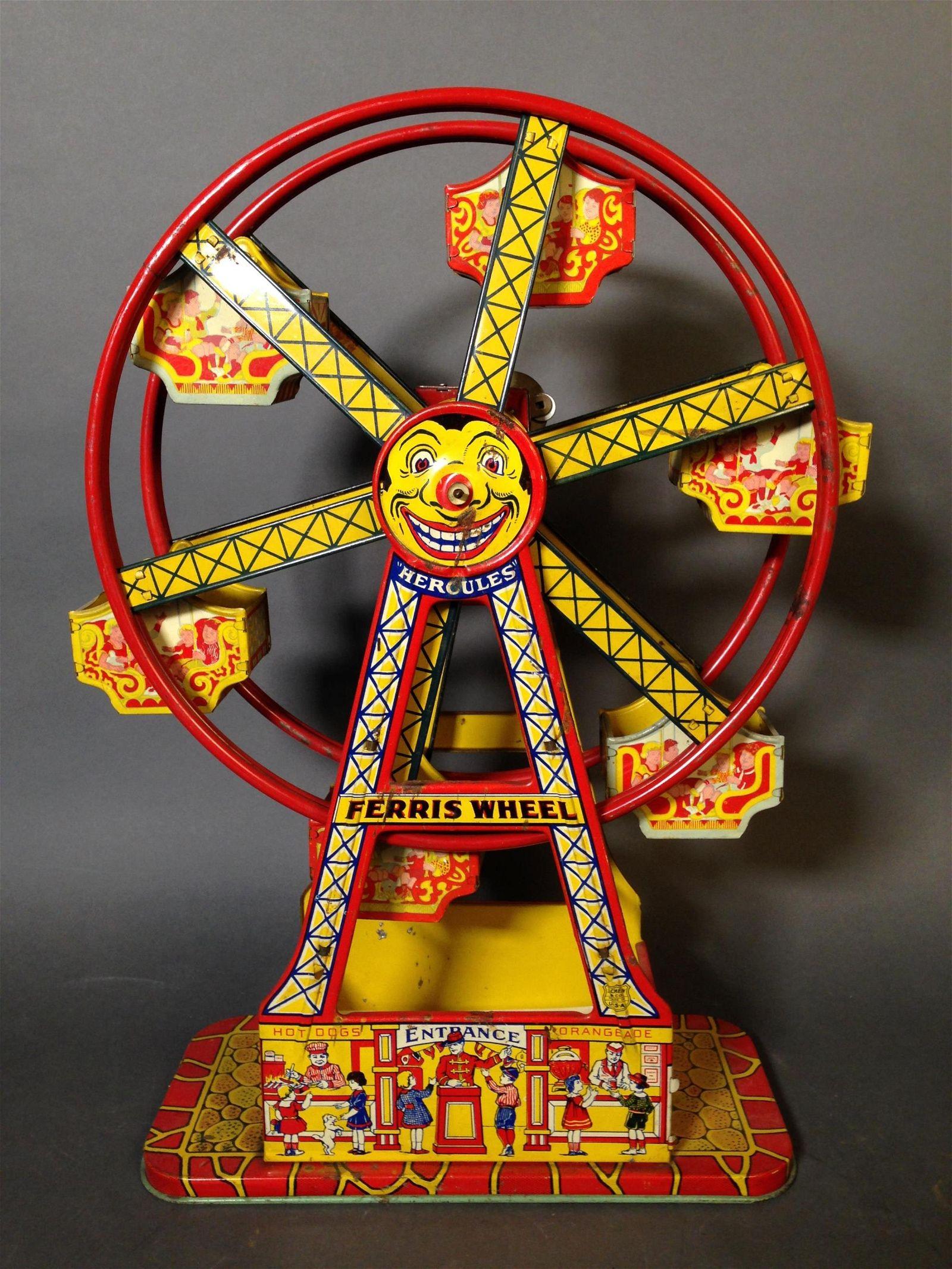 J. Chein Hercules Tin Litho Wind Up Ferris Wheel