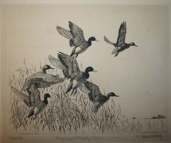 1: Richard D E. Bishop etching, 2 Martin Grant lithos