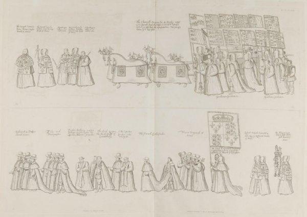 7: William Camden: 6 line engravings- royal funeral