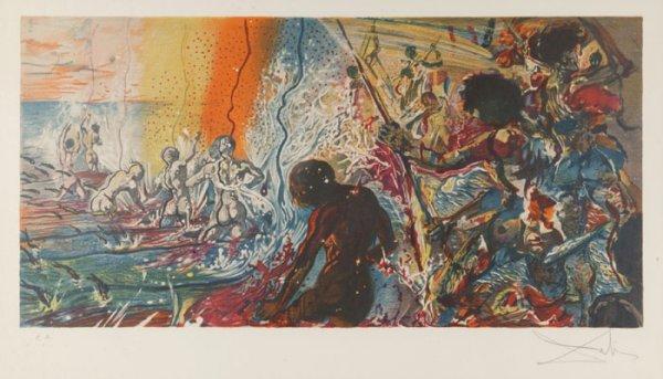 19: Dali ''Fisherman'' color lithograph signed