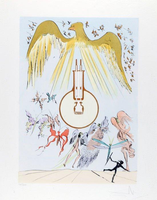 23: Salvador Dali, color lithograph of eagle, #146/450