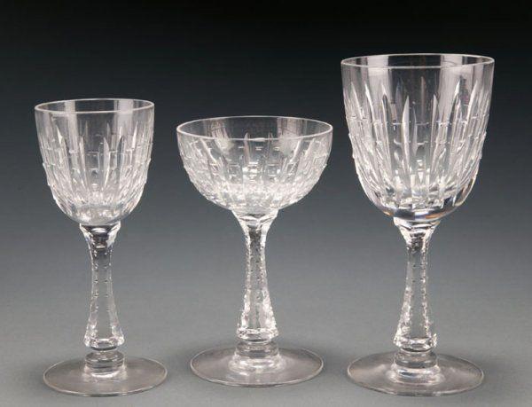 Set of Hawkes cutglass stemware Water Wine Champ.