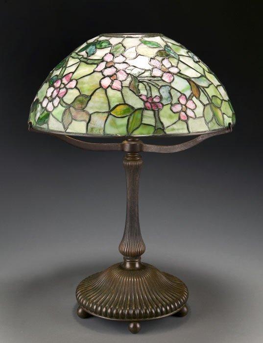 "117: Tiffany Studios ""Apple Blossom"" bronze table lamp"
