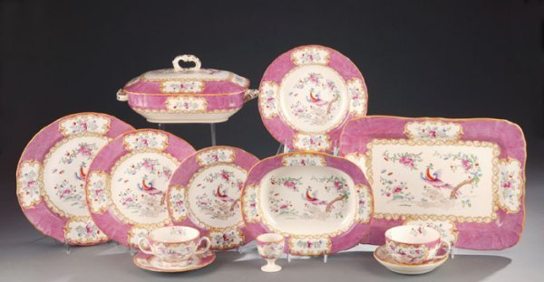 187: 104 Pieces of Minton Pink Cockatrice China