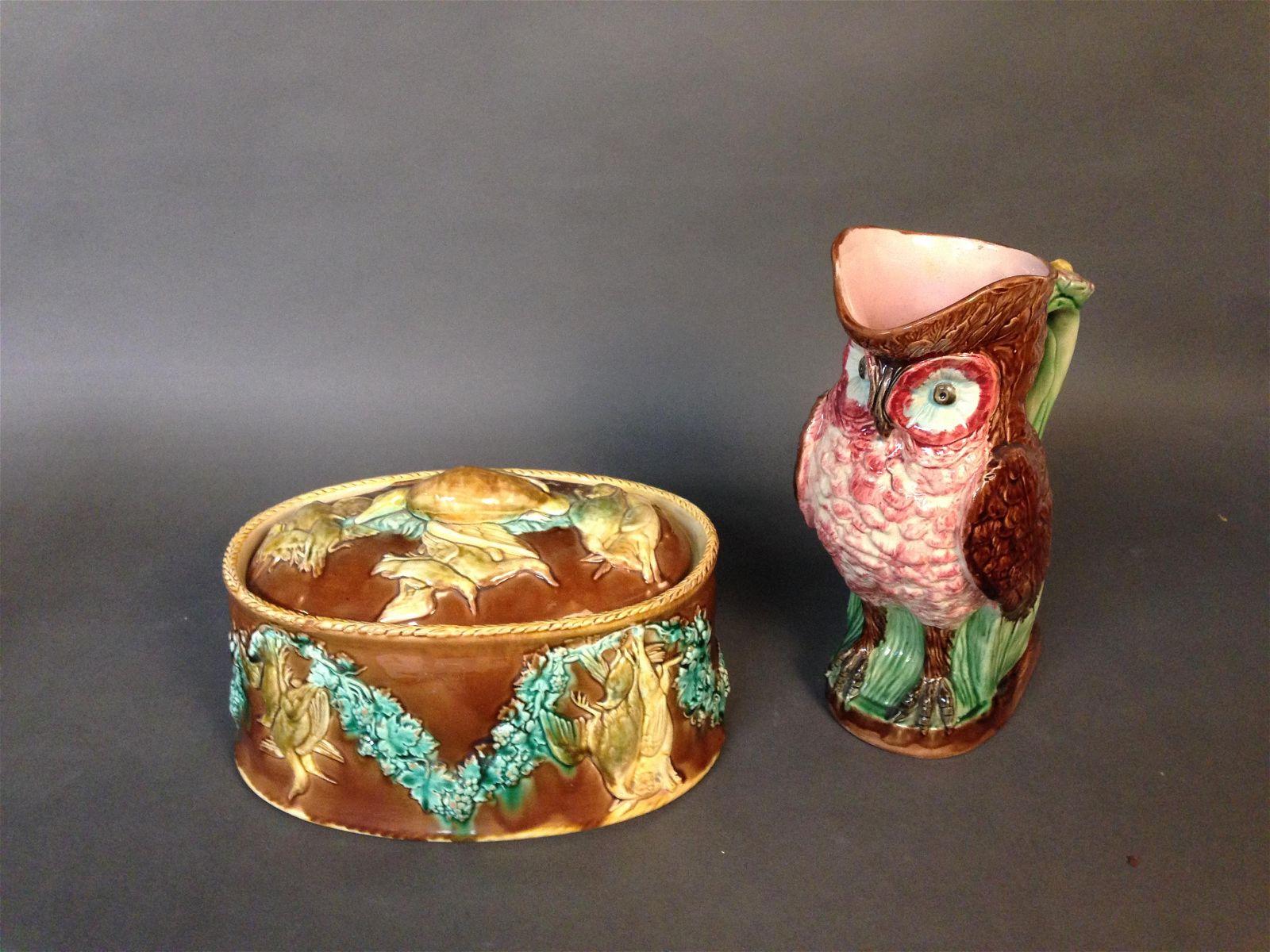 Majolica Still Life Tureen & Owl Form Pitcher