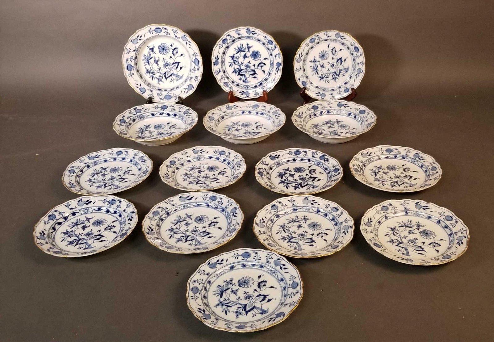 15 Meissen Blue Onion Porcelain Bowls