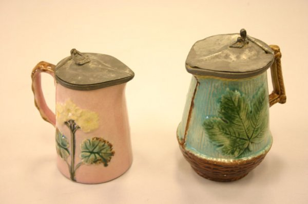 3003: Lot of 2 Continental Majolica pewter topped s