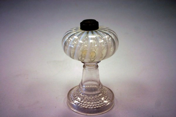 3011: Antique pressed glass based oil lamp base wit