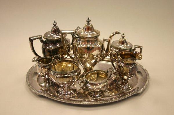3016: Gorham 9 piece coffee & tea service set with