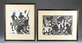 2 Richard Gabriel Framed Woodcuts.