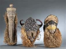 3 DR Congo Style Masks 20th c