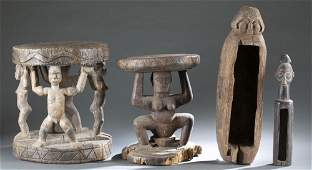 4 Central African Wooden Utilitarian Objects. 20th