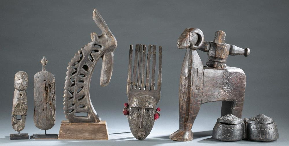 6 Ethnographic Wooden Objects. 20th c.