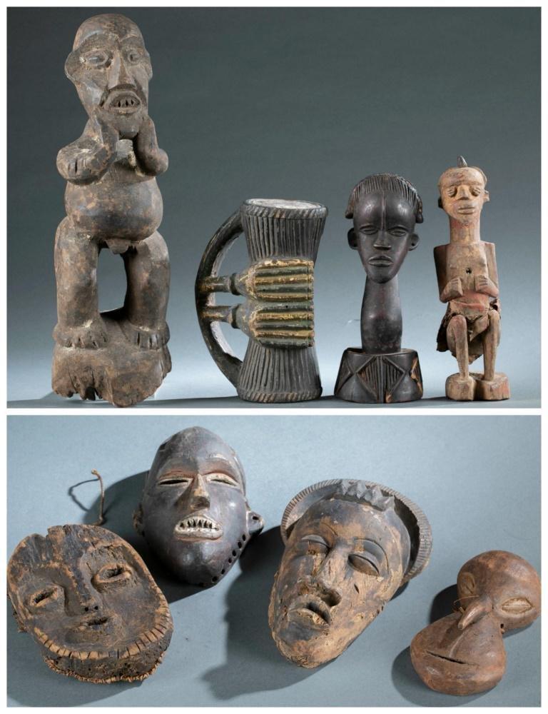 8 Ethnographic Wooden Figures/Masks. 20th c.