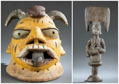 Yoruba Figure and Mask. 20th c.